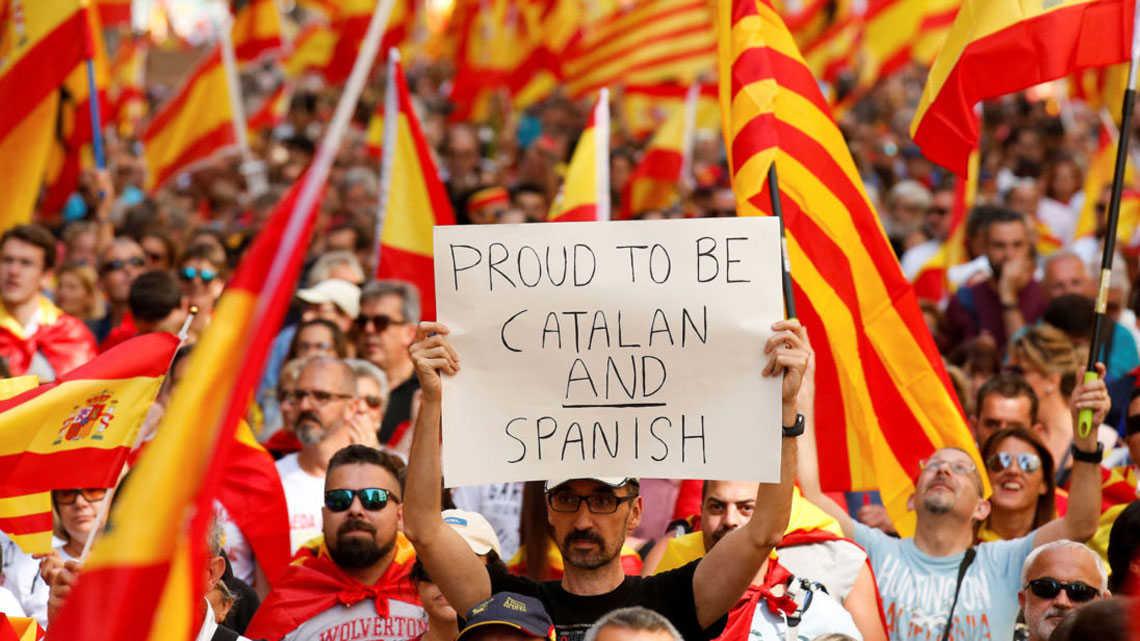 מפגין בעד קטלוניה וספרד